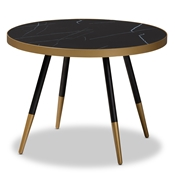 Baxton Studio Lauro Modern and Contemporary Round Glossy Marble and Metal Coffee Table with Two-Tone Black and Gold Legs Baxton Studio restaurant furniture, hotel furniture, commercial furniture, wholesale living room furniture, wholesale coffee tables, classic coffee tables