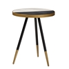 Baxton Studio Lauro Modern and Contemporary Round Glossy Marble and Metal End Table with Two-Tone Black and Gold Legs Baxton Studio restaurant furniture, hotel furniture, commercial furniture, wholesale living room furniture, wholesale end tables, classic end tables