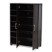 Baxton Studio Marine Modern and Contemporary Wenge Dark Brown Finished 2-Door Wood Entryway Shoe Storage Cabinet with Open Shelves - IESESC296-Wenge-Shoe Cabinet