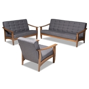 Baxton Studio Larsen Mid-Century Modern Gray Fabric Upholstered Walnut Wood 3-Piece Living Room Set Baxton Studio restaurant furniture, hotel furniture, commercial furniture, wholesale living room furniture, wholesale living room sets, classic living room sets