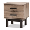 Baxton Studio Arend Modern and Contemporary Two-Tone Oak Brown and Ebony Wood 2-Drawer End Table Baxton Studio restaurant furniture, hotel furniture, commercial furniture, wholesale living room furniture, wholesale end tables, classic end tables