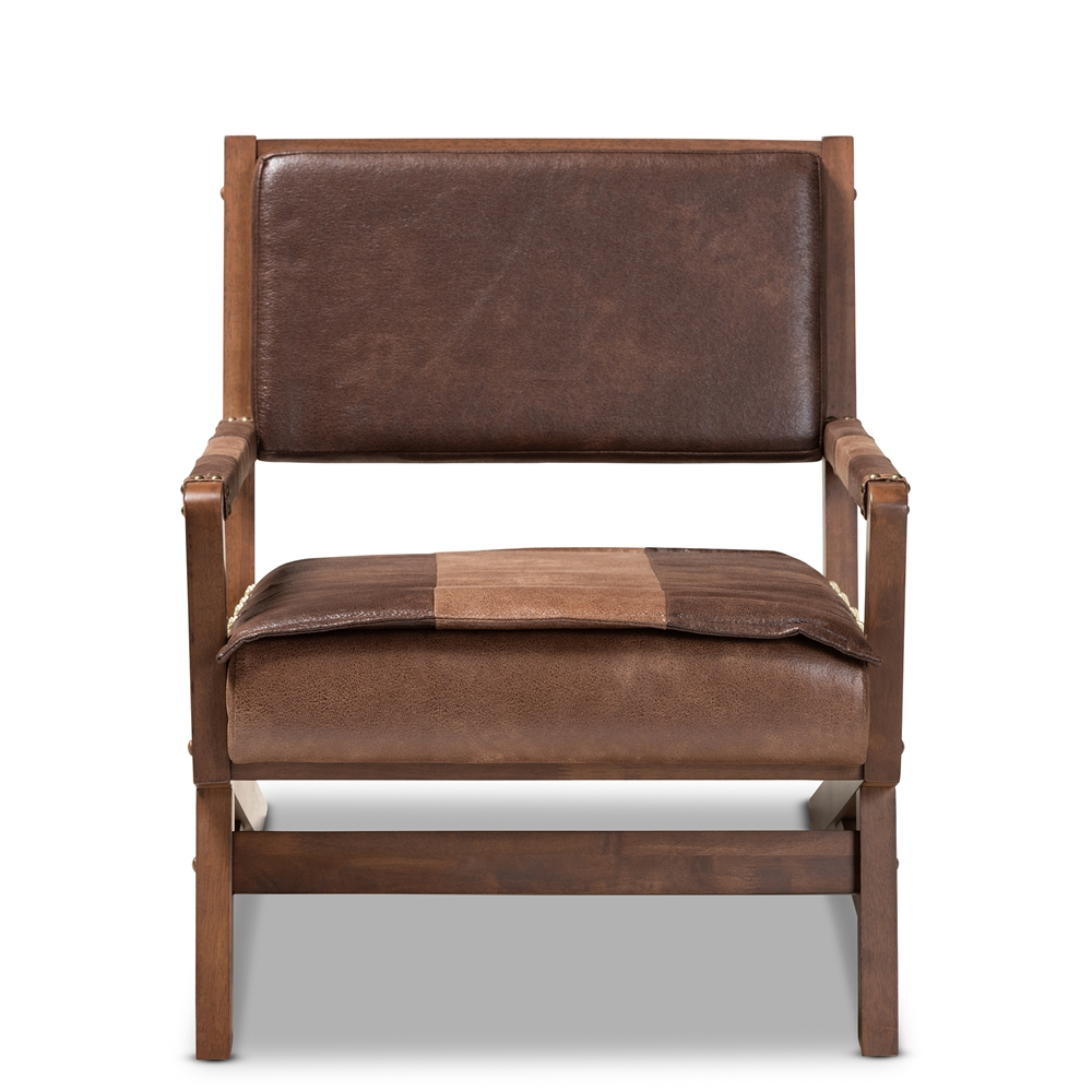 Baxton Studio Rovelyn Rustic Brown Faux Leather ...