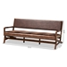 Baxton Studio Rovelyn Rustic Brown Faux Leather Upholstered Walnut Finished Wood Sofa - IERovelyn-Dark Brown/Walnut-SF