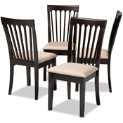 Baxton Studio Minette Modern and Contemporary Sand Fabric Upholstered Espresso Brown Finished Wood Dining Chair Set of 4 Baxton Studio restaurant furniture, hotel furniture, commercial furniture, wholesale dining room furniture, wholesale dining chairs, classic dining chairs