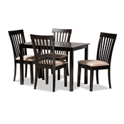 Baxton Studio Minette Modern and Contemporary Sand Fabric Upholstered Espresso Brown Finished Wood 5-Piece Dining Set Baxton Studio restaurant furniture, hotel furniture, commercial furniture, wholesale dining room furniture, wholesale dining sets, classic dining sets