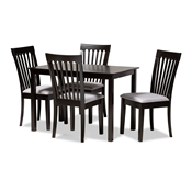 Baxton Studio Minette Modern and Contemporary Gray Fabric Upholstered Espresso Brown Finished Wood 5-Piece Dining Set Baxton Studio restaurant furniture, hotel furniture, commercial furniture, wholesale dining room furniture, wholesale dining sets, classic dining sets