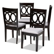 Baxton Studio Lenoir Modern and Contemporary Gray Fabric Upholstered Espresso Brown Finished Wood Dining Chair Set of 4 Baxton Studio restaurant furniture, hotel furniture, commercial furniture, wholesale dining room furniture, wholesale dining chairs, classic dining chairs