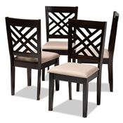 Baxton Studio Caron Modern and Contemporary Sand Fabric Upholstered Espresso Brown Finished Wood Dining Chair Set of 4 Baxton Studio restaurant furniture, hotel furniture, commercial furniture, wholesale dining room furniture, wholesale dining chairs, classic dining chairs
