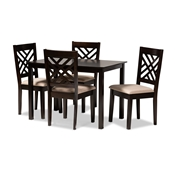 Baxton Studio Caron Modern and Contemporary Sand Fabric Upholstered Espresso Brown Finished Wood 5-Piece Dining Set Baxton Studio restaurant furniture, hotel furniture, commercial furniture, wholesale dining room furniture, wholesale dining sets, classic dining sets