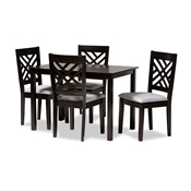 Baxton Studio Caron Modern and Contemporary Gray Fabric Upholstered Espresso Brown Finished Wood 5-Piece Dining Set Baxton Studio restaurant furniture, hotel furniture, commercial furniture, wholesale dining room furniture, wholesale dining sets, classic dining sets