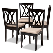 Baxton Studio Reneau Modern and Contemporary Sand Fabric Upholstered Espresso Brown Finished Wood Dining Chair Set of 4 Baxton Studio restaurant furniture, hotel furniture, commercial furniture, wholesale dining room furniture, wholesale dining chairs, classic dining chairs