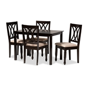 Baxton Studio Reneau Modern and Contemporary Sand Fabric Upholstered Espresso Brown Finished Wood 5-Piece Dining Set Baxton Studio restaurant furniture, hotel furniture, commercial furniture, wholesale dining room furniture, wholesale dining sets, classic dining sets