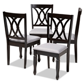 Baxton Studio Reneau Modern and Contemporary Gray Fabric Upholstered Espresso Brown Finished Wood Dining Chair Set of 4 Baxton Studio restaurant furniture, hotel furniture, commercial furniture, wholesale dining room furniture, wholesale dining chairs, classic dining chairs
