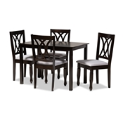 Baxton Studio Reneau Modern and Contemporary Gray Fabric Upholstered Espresso Brown Finished Wood 5-Piece Dining Set Baxton Studio restaurant furniture, hotel furniture, commercial furniture, wholesale dining room furniture, wholesale dining sets, classic dining sets
