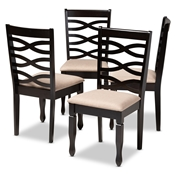 Baxton Studio Lanier Modern and Contemporary Sand Fabric Upholstered Espresso Brown Finished Wood Dining Chair Set of 4 Baxton Studio restaurant furniture, hotel furniture, commercial furniture, wholesale dining room furniture, wholesale dining chairs, classic dining chairs