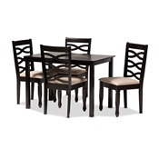 Baxton Studio Lanier Modern and Contemporary Sand Fabric Upholstered Espresso Brown Finished Wood 5-Piece Dining Set Baxton Studio restaurant furniture, hotel furniture, commercial furniture, wholesale dining room furniture, wholesale dining sets, classic dining sets