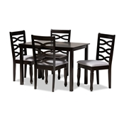 Baxton Studio Lanier Modern and Contemporary Gray Fabric Upholstered Espresso Brown Finished Wood 5-Piece Dining Set Baxton Studio restaurant furniture, hotel furniture, commercial furniture, wholesale dining room furniture, wholesale dining sets, classic dining sets