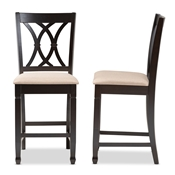 Baxton Studio Reneau Modern and Contemporary Sand Fabric Upholstered Espresso Brown Finished Wood Counter Height Pub Chair Set of 2 Baxton Studio restaurant furniture, hotel furniture, commercial furniture, wholesale dining  room furniture, wholesale counter stools, classic counter stools