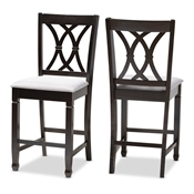 Baxton Studio Reneau Modern and Contemporary Gray Fabric Upholstered Espresso Brown Finished Wood Counter Height Pub Chair Set of 2 Baxton Studio restaurant furniture, hotel furniture, commercial furniture, wholesale dining  room furniture, wholesale counter stools, classic counter stools
