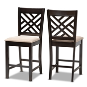 Baxton Studio Caron Modern and Contemporary Sand Fabric Upholstered Espresso Brown Finished Wood Counter Height Pub Chair Set of 2 Baxton Studio restaurant furniture, hotel furniture, commercial furniture, wholesale dining  room furniture, wholesale counter stools, classic counter stools