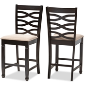 Baxton Studio Lanier Modern and Contemporary Sand Fabric Upholstered Espresso Brown Finished Wood Counter Height Pub Chair Set of 2 Baxton Studio restaurant furniture, hotel furniture, commercial furniture, wholesale dining  room furniture, wholesale counter stools, classic counter stools