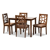 Baxton Studio Abilene Mid-Century Light Brown Fabric Upholstered and Walnut Brown Finished 5-Piece Wood Dining Set Baxton Studio restaurant furniture, hotel furniture, commercial furniture, wholesale dining room furniture, wholesale dining sets, classic dining sets