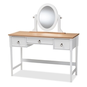 Baxton Studio Sylvie Classic and Traditional White 3-Drawer Wood Vanity Table with Mirror Baxton Studio restaurant furniture, hotel furniture, commercial furniture, wholesale bedroom furniture, wholesale vanity, classic vanity