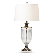 Baxton Studio Violeta Modern and Contemporary Clear Glass and Silver Metal Urn Table Lamp