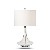 Baxton Studio Noa Modern and Contemporary Clear Glass and Silver Metal Teardrop Table Lamp