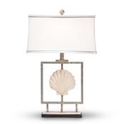 Baxton Studio Treasa Modern and Contemporary Antique Silver Metal Framed Seashell Table Lamp
