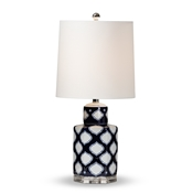 Baxton Studio Tierney Modern and Contemporary Dark Blue and White Quatrefoil Patterned Ceramic Table Lamp