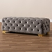 Baxton Studio Avara Glam and Luxe Gray Velvet Fabric Upholstered Gold Finished Button Tufted Bench Ottoman - IETSFOT028-Slate Grey/Gold-Otto