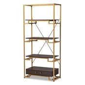 Baxton Studio Cerelia Modern and Contemporary Gold-Tone Steel and Dark Brown Finished Wood 3-Shelf Accent Bookcase with Drawer
