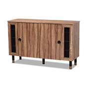 Baxton Studio Valina Modern and Contemporary 2-Door Wood Entryway Shoe Storage Cabinet with Screen Inserts Baxton Studio restaurant furniture, hotel furniture, commercial furniture, wholesale entryway furniture, wholesale shoe cabinet, classic shoe cabinet