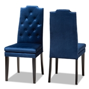 Baxton Studio Dylin Modern and Contemporary Navy Blue Velvet Fabric Upholstered Button Tufted Wood Dining Chair Set of 2 Baxton Studio restaurant furniture, hotel furniture, commercial furniture, wholesale dining room furniture, wholesale dining chairs, classic dining chairs