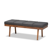 Baxton Studio Larisa Mid-Century Modern Charcoal Fabric Upholstered Wood Bench Baxton Studio restaurant furniture, hotel furniture, commercial furniture, wholesale dining room furniture, wholesale bench, classic bench