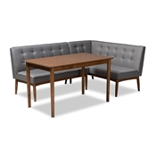 Baxton Studio Arvid Mid-Century Modern Gray Fabric Upholstered 3-Piece Wood Dining Nook Set Baxton Studio restaurant furniture, hotel furniture, commercial furniture, wholesale dining room furniture, wholesale dining sets, classic dining sets