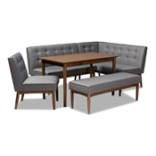 Baxton Studio Arvid Mid-Century Modern Gray Fabric Upholstered 5-Piece Wood Dining Nook Set Baxton Studio restaurant furniture, hotel furniture, commercial furniture, wholesale dining room furniture, wholesale dining sets, classic dining sets