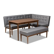 Baxton Studio Arvid Mid-Century Modern Gray Fabric Upholstered 4-Piece Wood Dining Nook Set Baxton Studio restaurant furniture, hotel furniture, commercial furniture, wholesale dining room furniture, wholesale dining sets, classic dining sets