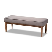 Baxton Studio Arvid Mid-Century Modern Gray Fabric Upholstered Wood Dining Bench Baxton Studio restaurant furniture, hotel furniture, commercial furniture, wholesale dining room furniture, wholesale bench, classic bench
