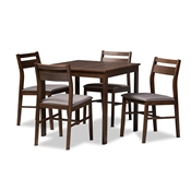 Baxton Studio Lovy Modern and Contemporary Gray Fabric Upholstered Dark Walnut-Finished 5-Piece Wood Dining Set Baxton Studio restaurant furniture, hotel furniture, commercial furniture, wholesale dining room furniture, wholesale dining sets, classic dining sets