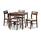Baxton Studio Lovy Modern and Contemporary Beige Fabric Upholstered Dark Walnut-Finished 5-Piece Wood Dining Set Baxton Studio restaurant furniture, hotel furniture, commercial furniture, wholesale dining room furniture, wholesale dining sets, classic dining sets