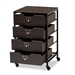 Baxton Studio Felix Modern and Contemporary Espresso Wood and Black Metal 4-Drawer Mobile File Cabinet - IEBG1708A-Dark Brown