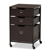 Baxton Studio Felix Modern and Contemporary Espresso Wood and Black Metal 3-Drawer Mobile File Cabinet Baxton Studio restaurant furniture, hotel furniture, commercial furniture, wholesale entryway furniture, wholesale storage cabinet, classic storage cabinet