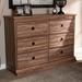 Baxton Studio Ryker Modern and Contemporary Oak Finished 6-Drawer Wood Dresser - IEFP-1804-4012