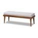 Baxton Studio Linus Mid-Century Modern Greyish Beige Fabric Upholstered and Button Tufted Wood Bench - IEBBT5363-Greyish Beige-Bench