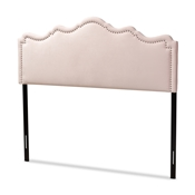 Baxton Studio Nadeen Modern and Contemporary Light Pink Velvet Fabric Upholstered King Size Headboard Baxton Studio restaurant furniture, hotel furniture, commercial furniture, wholesale bedroom furniture, wholesale king, classic king