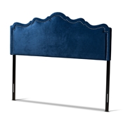 Baxton Studio Nadeen Modern and Contemporary Navy Blue Velvet Fabric Upholstered King Size Headboard Baxton Studio restaurant furniture, hotel furniture, commercial furniture, wholesale bedroom furniture, wholesale king, classic king