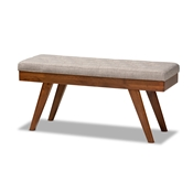 Baxton Studio Alona Mid-Century Modern Light Grey Fabric Upholstered Wood Dining Bench Baxton Studio restaurant furniture, hotel furniture, commercial furniture, wholesale living room furniture, wholesale bench, classic bench