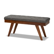 Baxton Studio Alona Mid-Century Modern Medium Grey Fabric Upholstered Wood Dining Bench Baxton Studio restaurant furniture, hotel furniture, commercial furniture, wholesale living room furniture, wholesale bench, classic bench